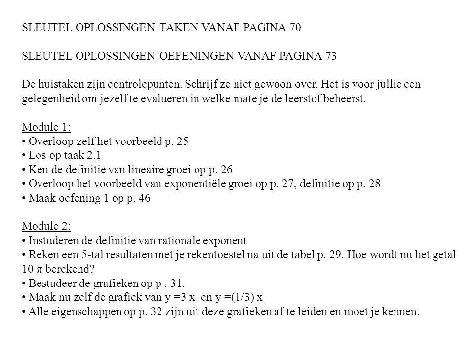 SLEUTEL OPLOSSINGEN TAKEN VANAF PAGINA 70