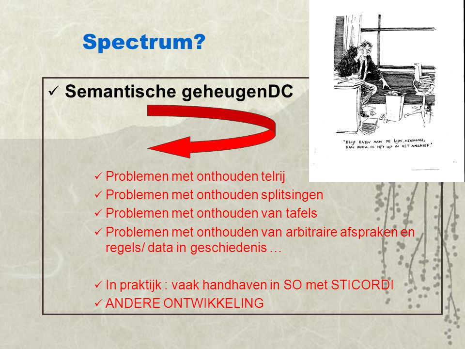 Spectrum Semantische geheugenDC LTM Problemen met onthouden telrij