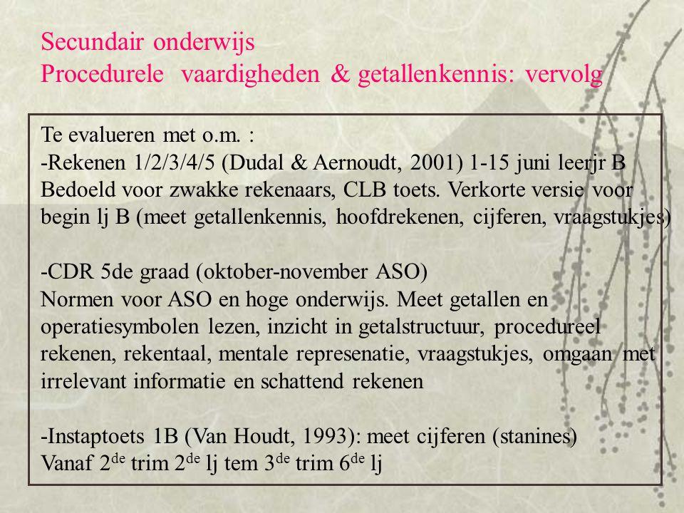 Procedurele vaardigheden & getallenkennis: vervolg
