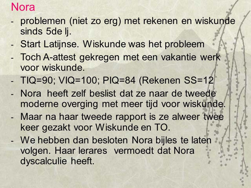Nora problemen (niet zo erg) met rekenen en wiskunde sinds 5de lj.