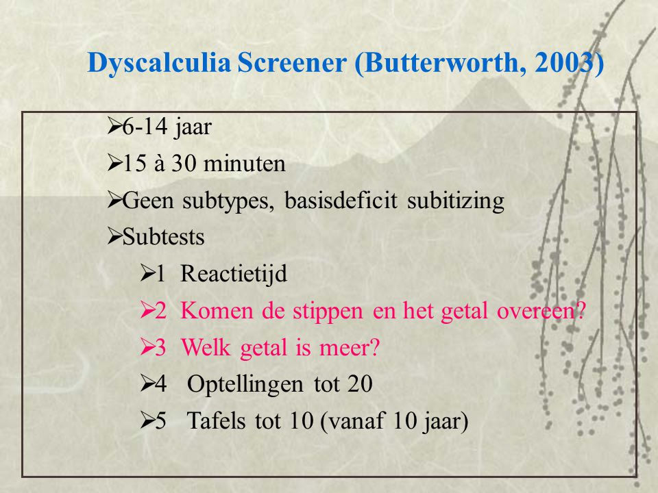 Dyscalculia Screener (Butterworth, 2003)