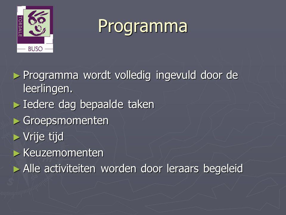 Programma Programma wordt volledig ingevuld door de leerlingen.