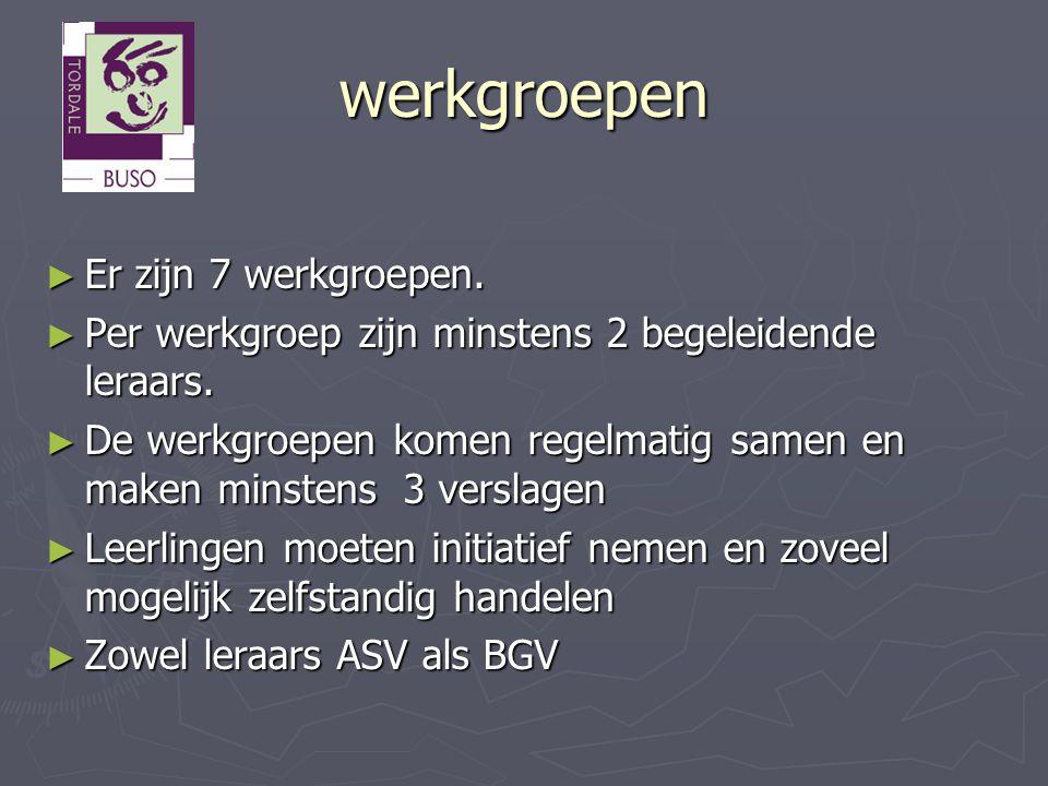 werkgroepen Er zijn 7 werkgroepen.