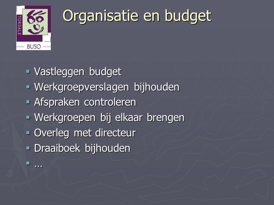 Organisatie en budget Vastleggen budget Werkgroepverslagen bijhouden