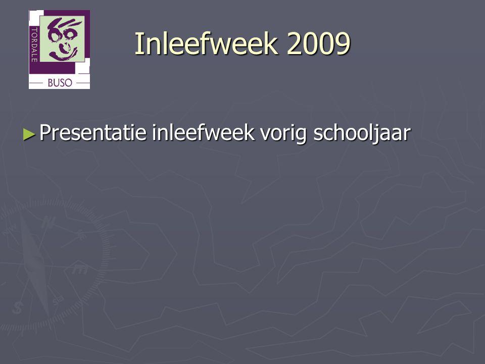 Inleefweek 2009 Presentatie inleefweek vorig schooljaar