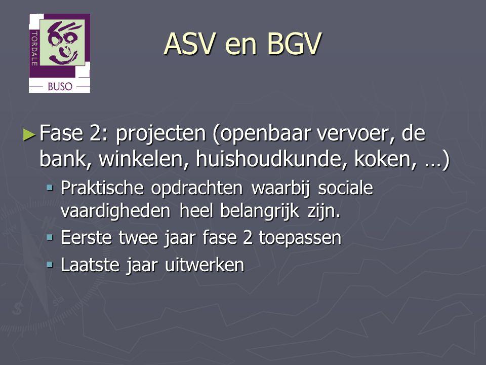 ASV en BGV Fase 2: projecten (openbaar vervoer, de bank, winkelen, huishoudkunde, koken, …)