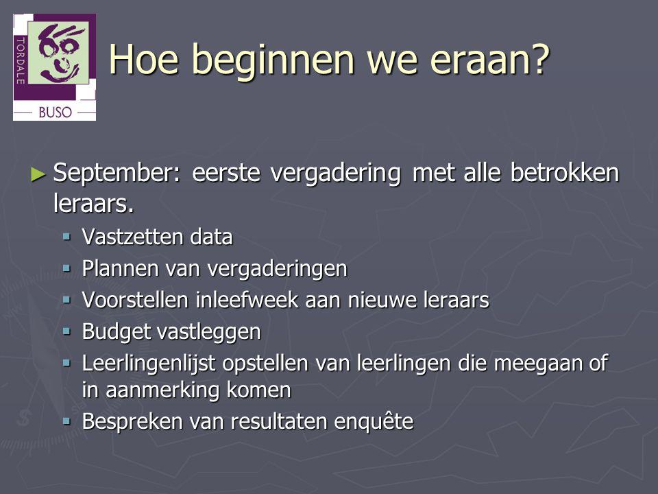 Hoe beginnen we eraan September: eerste vergadering met alle betrokken leraars. Vastzetten data. Plannen van vergaderingen.