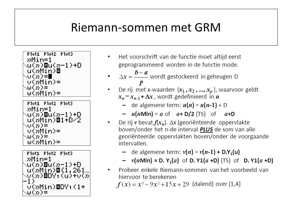 Riemann-sommen met GRM