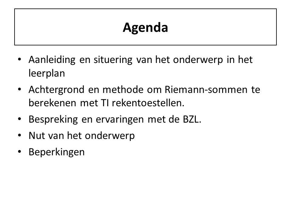 Agenda Aanleiding en situering van het onderwerp in het leerplan