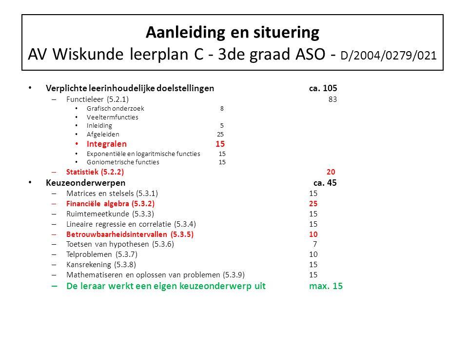 Aanleiding en situering AV Wiskunde leerplan C - 3de graad ASO - D/2004/0279/021