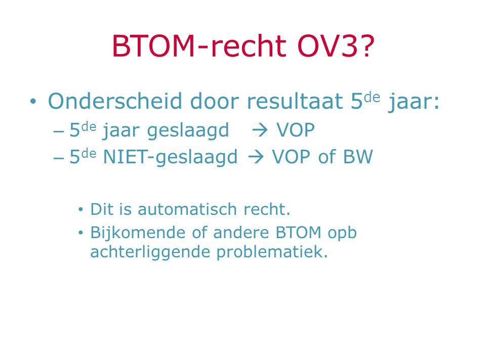 BTOM-recht OV3 Onderscheid door resultaat 5de jaar: