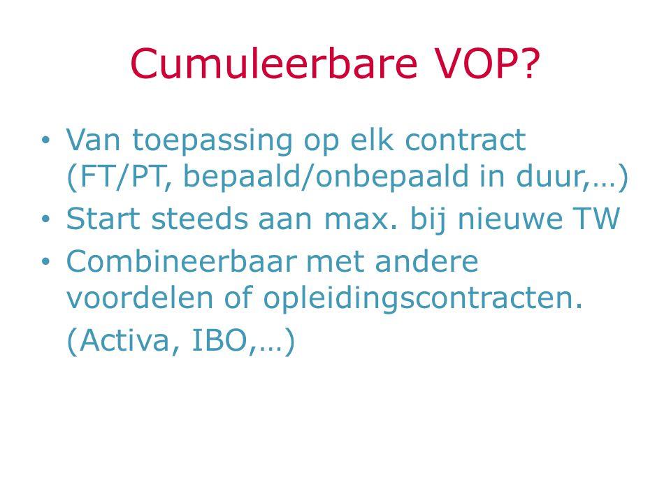 Cumuleerbare VOP Van toepassing op elk contract (FT/PT, bepaald/onbepaald in duur,…) Start steeds aan max. bij nieuwe TW.