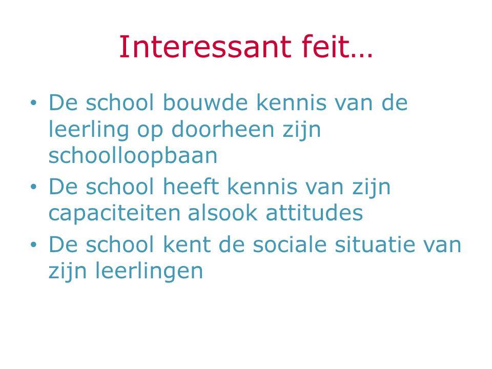 Interessant feit… De school bouwde kennis van de leerling op doorheen zijn schoolloopbaan.