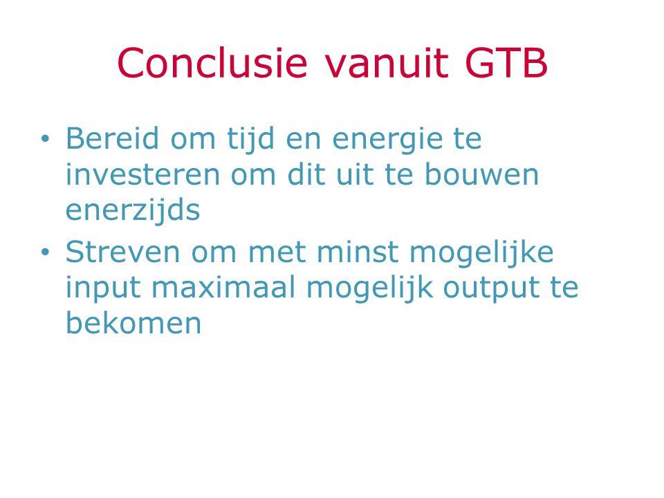 Conclusie vanuit GTB Bereid om tijd en energie te investeren om dit uit te bouwen enerzijds.