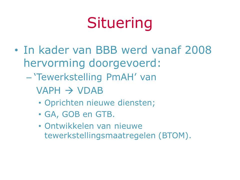Situering In kader van BBB werd vanaf 2008 hervorming doorgevoerd: