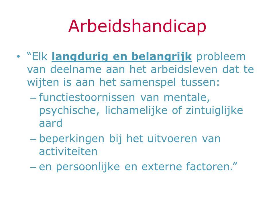 Arbeidshandicap Elk langdurig en belangrijk probleem van deelname aan het arbeidsleven dat te wijten is aan het samenspel tussen: