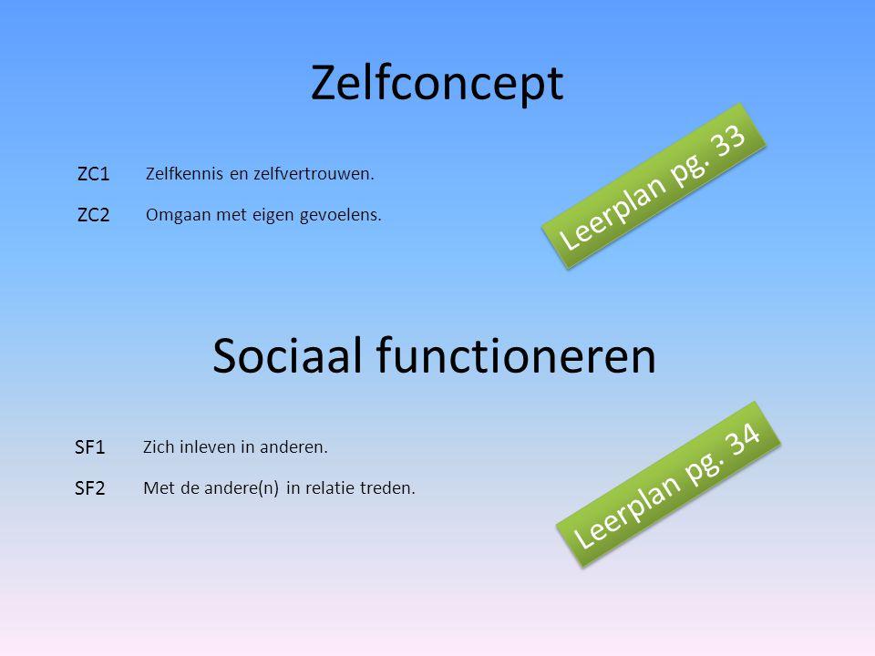Zelfconcept Sociaal functioneren Leerplan pg. 33 Leerplan pg. 34 ZC1