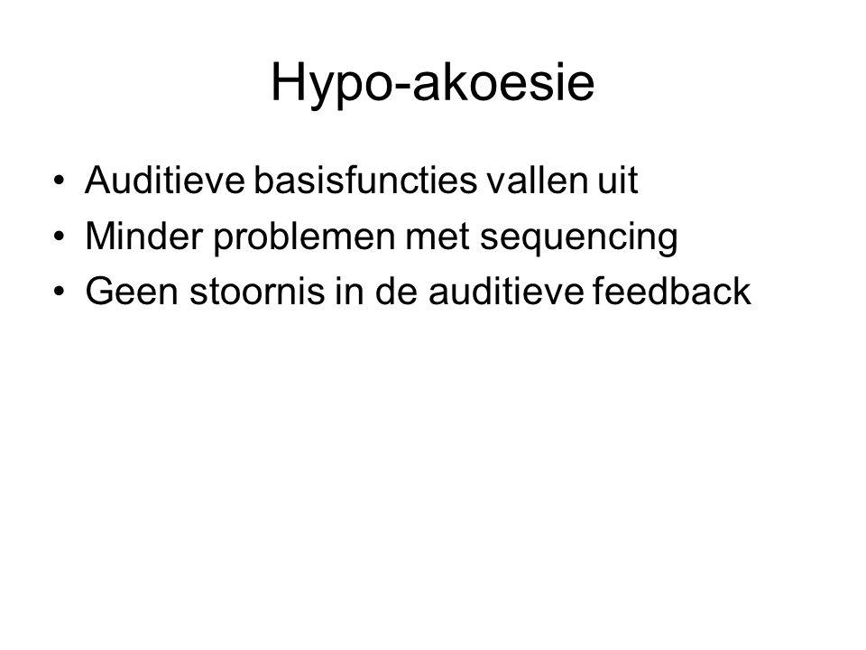 Hypo-akoesie Auditieve basisfuncties vallen uit