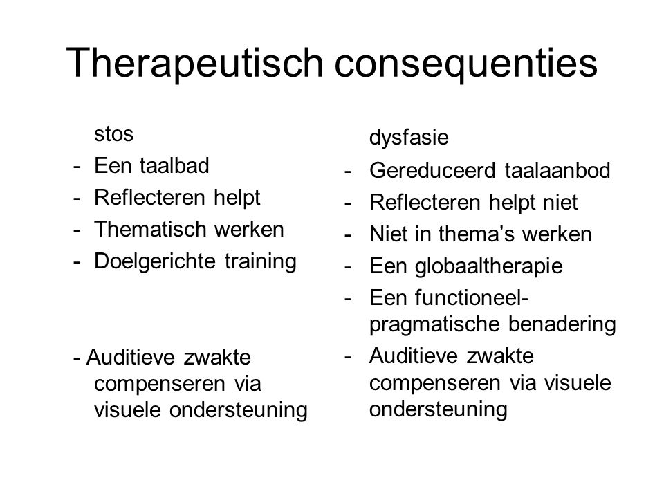 Therapeutisch consequenties