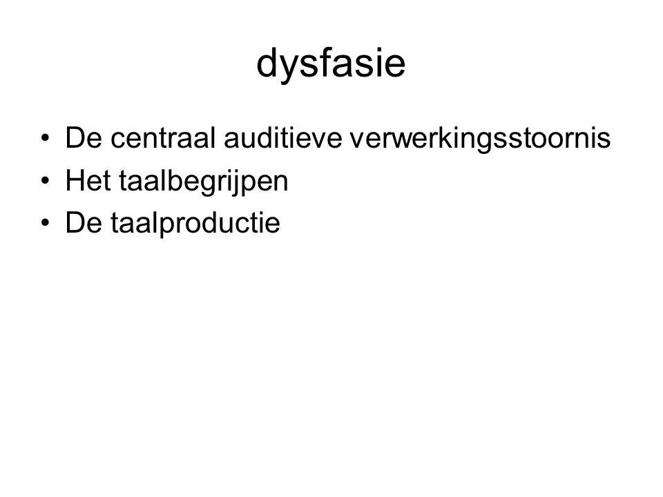 dysfasie De centraal auditieve verwerkingsstoornis Het taalbegrijpen