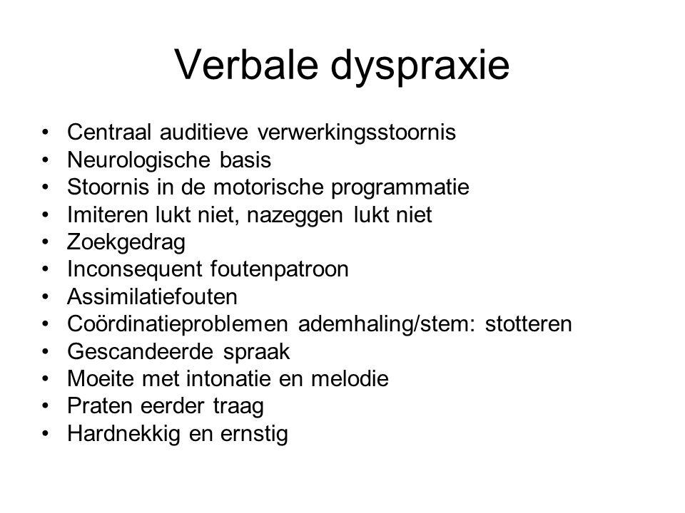 Verbale dyspraxie Centraal auditieve verwerkingsstoornis