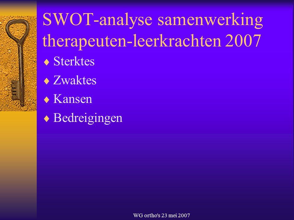 SWOT-analyse samenwerking therapeuten-leerkrachten 2007
