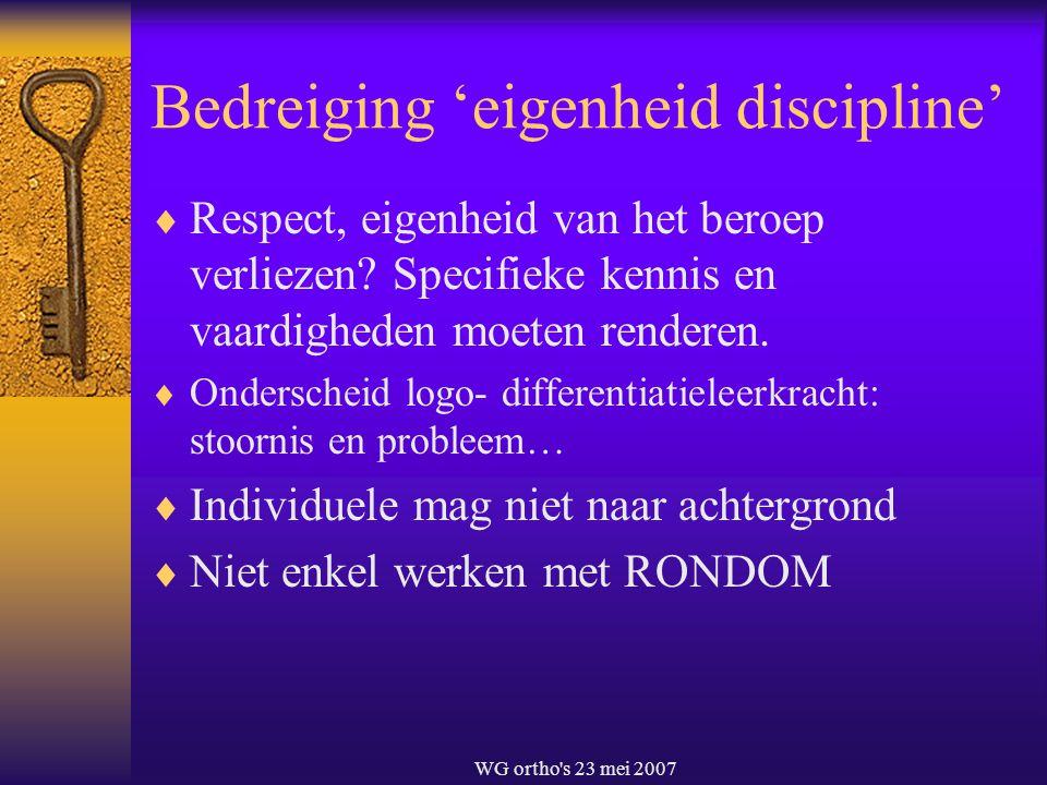Bedreiging 'eigenheid discipline'