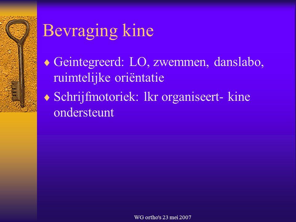 Bevraging kine Geintegreerd: LO, zwemmen, danslabo, ruimtelijke oriëntatie. Schrijfmotoriek: lkr organiseert- kine ondersteunt.