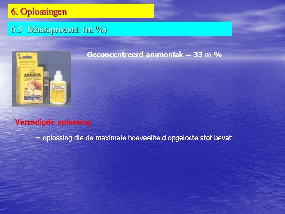 6. Oplossingen 6.5 Massaprocent (m %) Geconcentreerd ammoniak = 33 m %