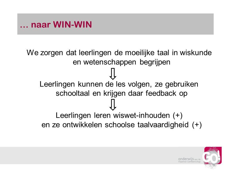 … naar WIN-WIN We zorgen dat leerlingen de moeilijke taal in wiskunde en wetenschappen begrijpen.