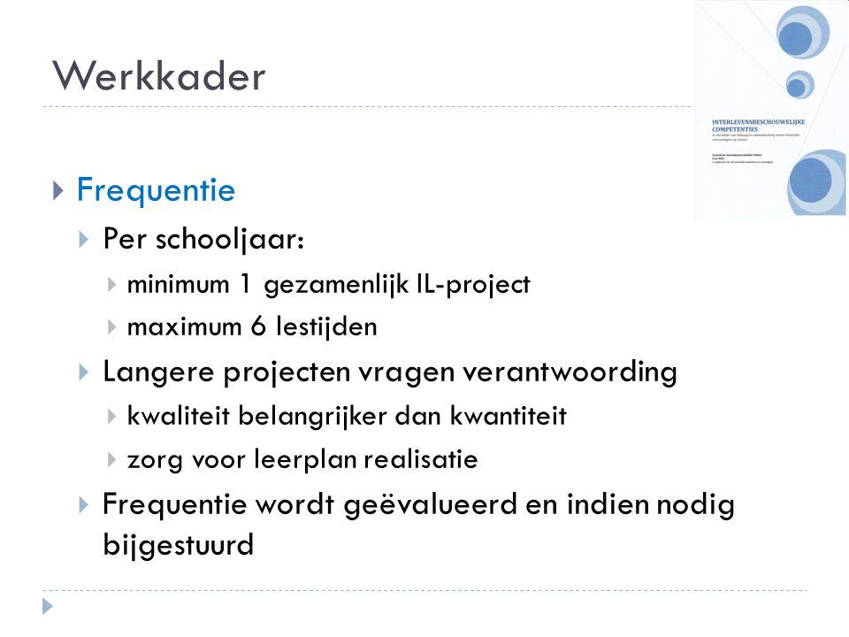 Werkkader Frequentie Per schooljaar: