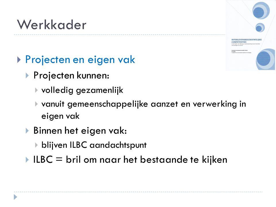Werkkader Projecten en eigen vak Projecten kunnen: