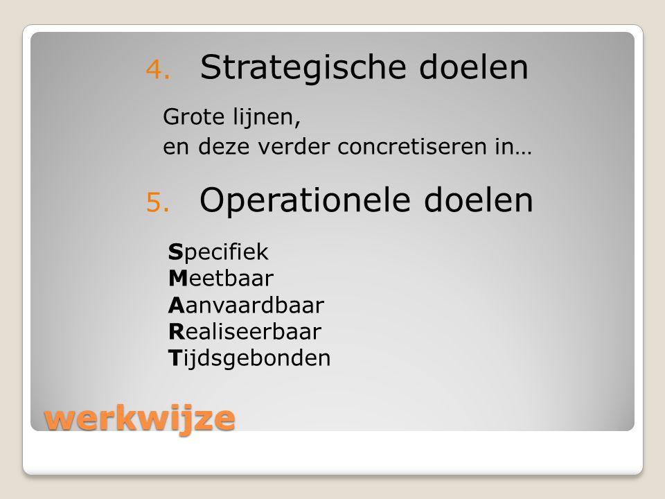 Strategische doelen Operationele doelen werkwijze Grote lijnen,