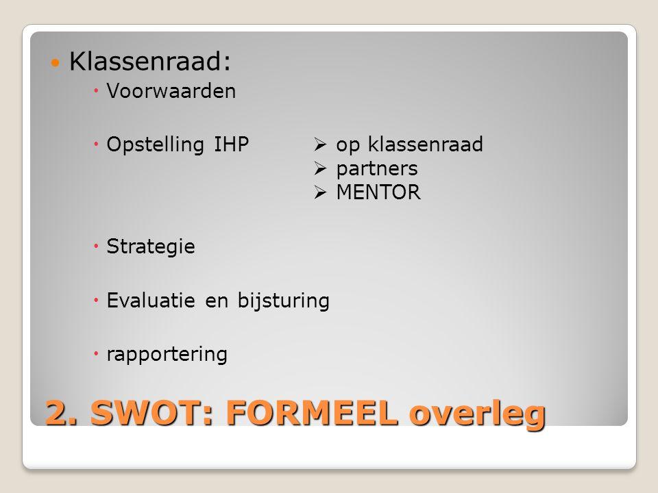2. SWOT: FORMEEL overleg Klassenraad: Voorwaarden