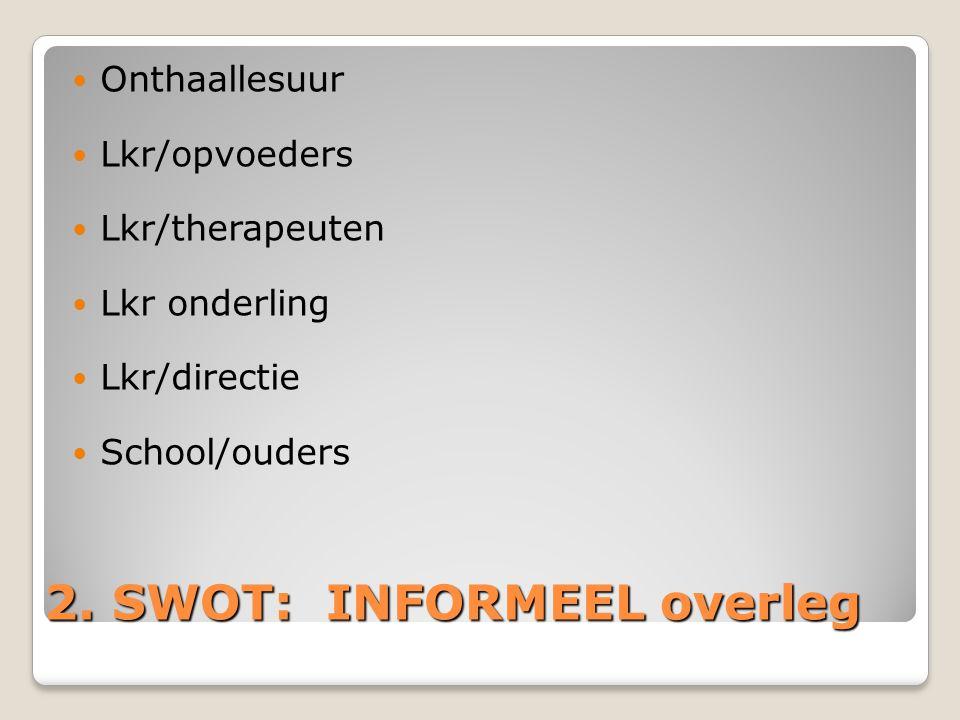 2. SWOT: INFORMEEL overleg