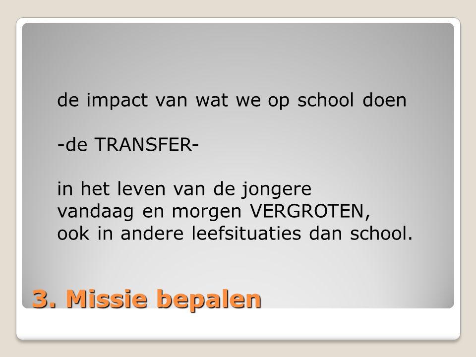 3. Missie bepalen de impact van wat we op school doen -de TRANSFER-