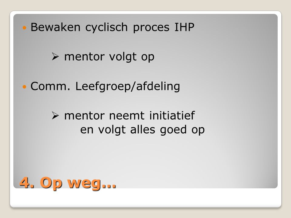 4. Op weg… Bewaken cyclisch proces IHP  mentor volgt op