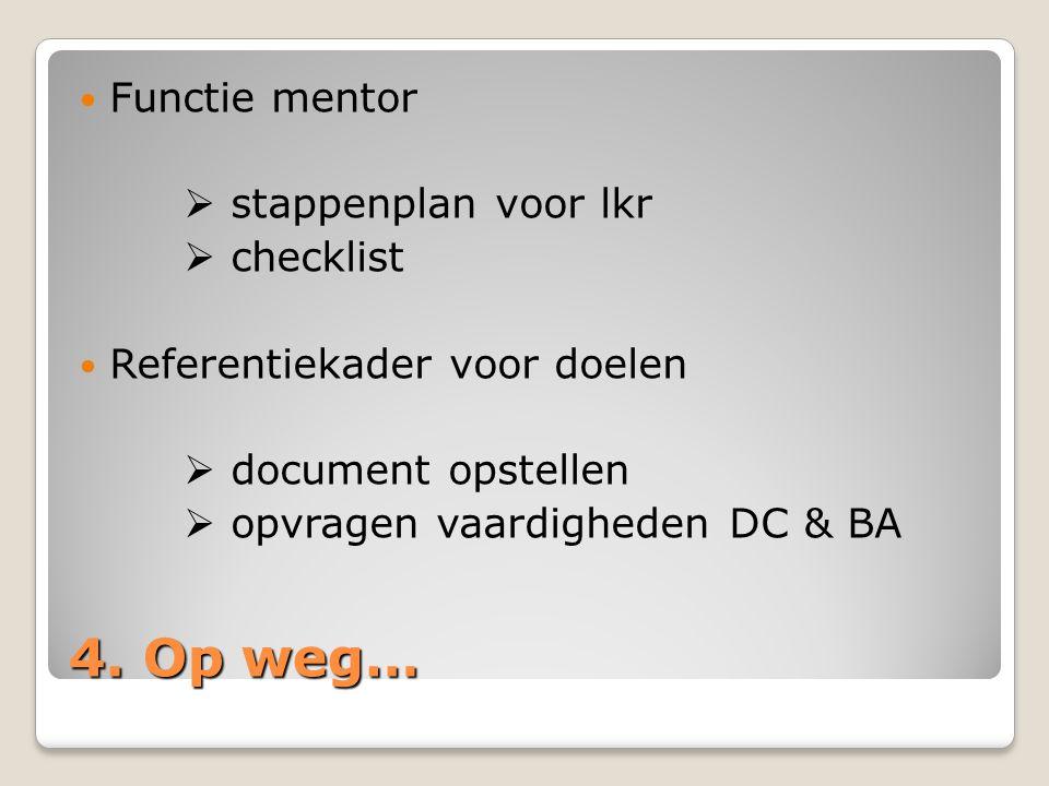 4. Op weg… Functie mentor  stappenplan voor lkr  checklist