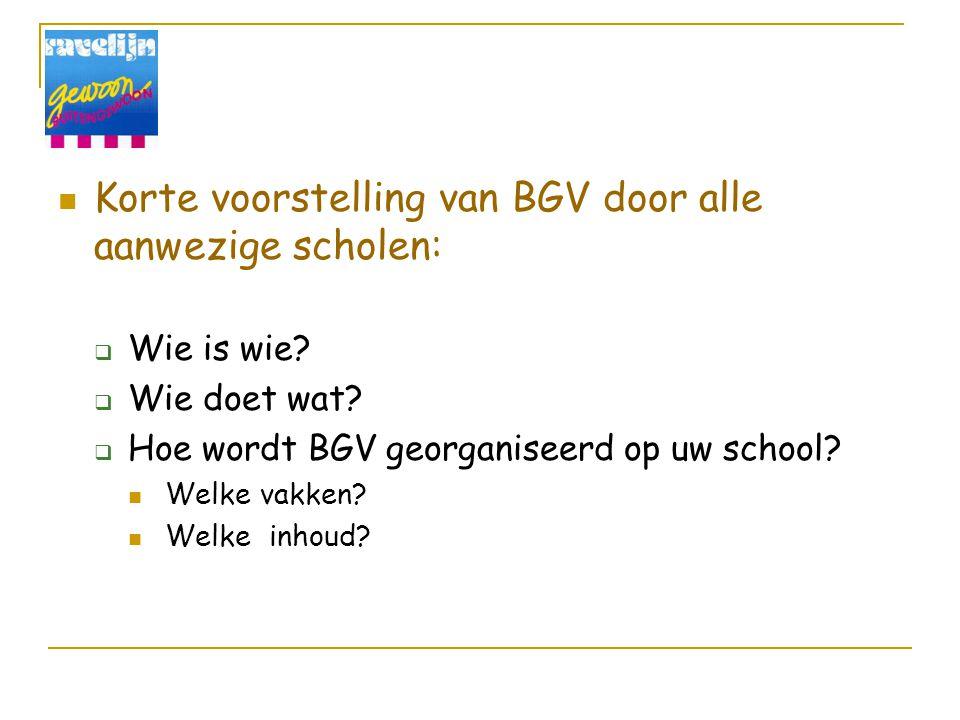 Korte voorstelling van BGV door alle aanwezige scholen: