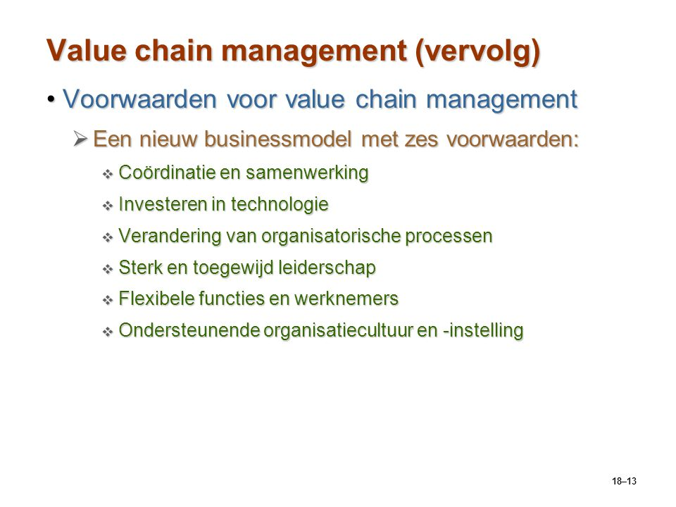 Value chain management (vervolg)