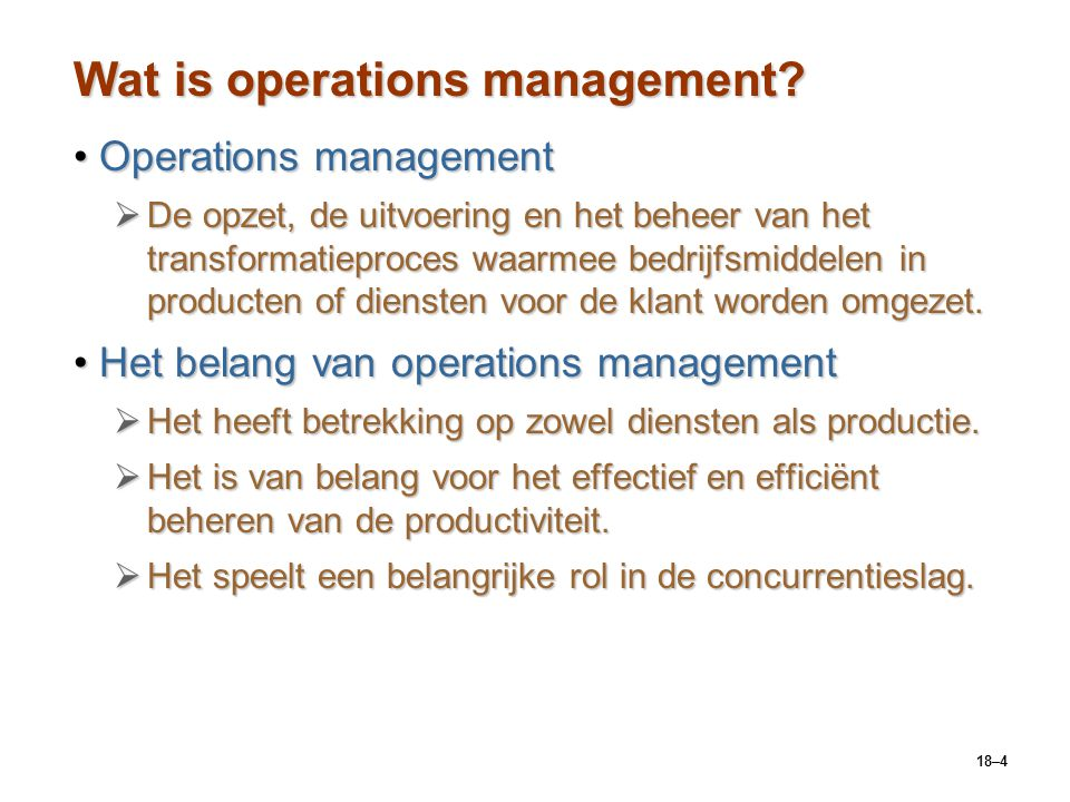Wat is operations management