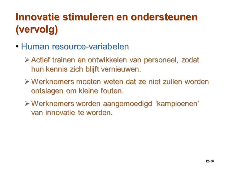 Innovatie stimuleren en ondersteunen (vervolg)