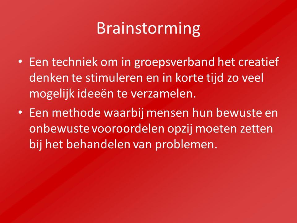 Brainstorming Een techniek om in groepsverband het creatief denken te stimuleren en in korte tijd zo veel mogelijk ideeën te verzamelen.