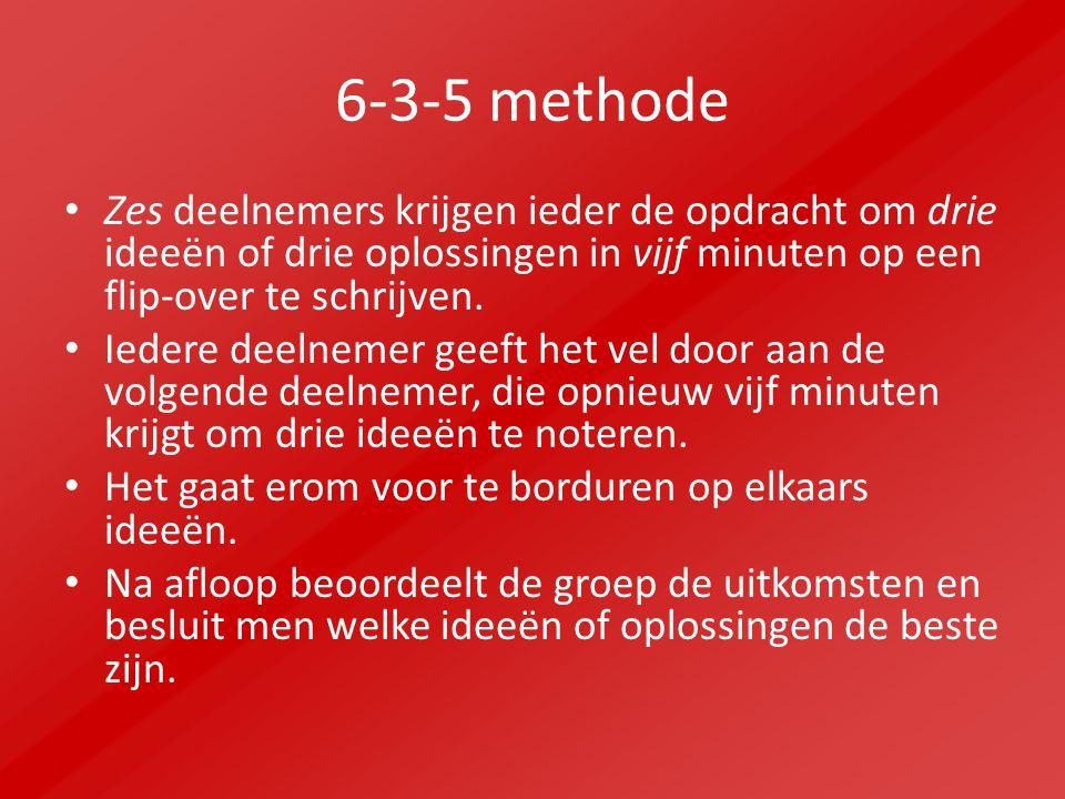 6-3-5 methode Zes deelnemers krijgen ieder de opdracht om drie ideeën of drie oplossingen in vijf minuten op een flip-over te schrijven.