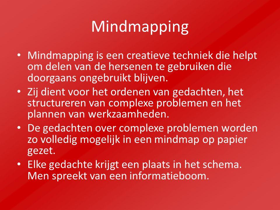 Mindmapping Mindmapping is een creatieve techniek die helpt om delen van de hersenen te gebruiken die doorgaans ongebruikt blijven.