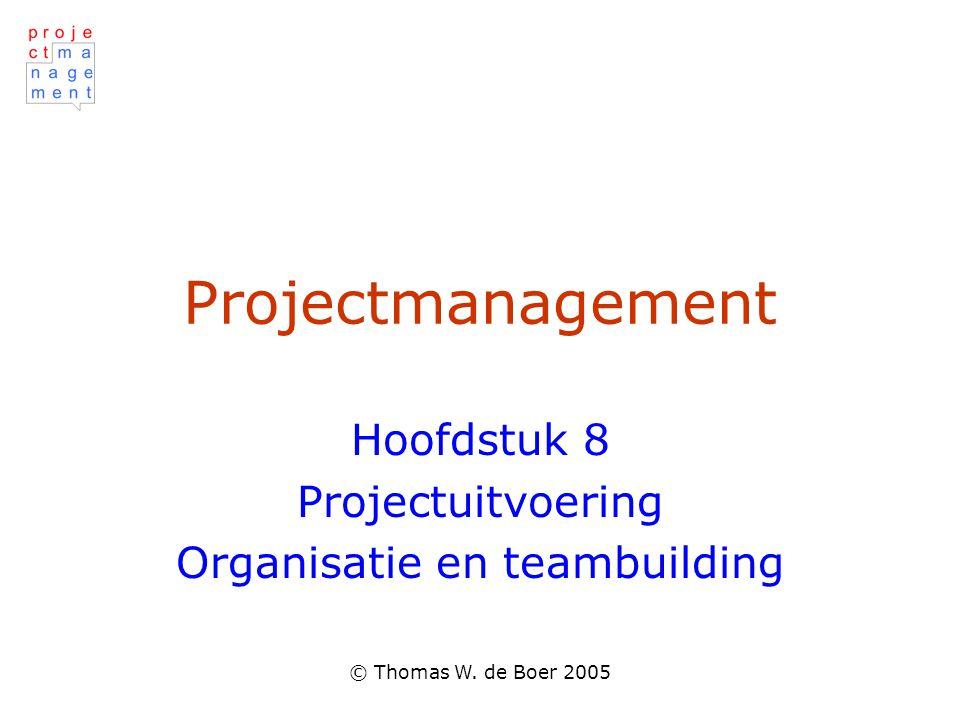 Hoofdstuk 8 Projectuitvoering Organisatie en teambuilding