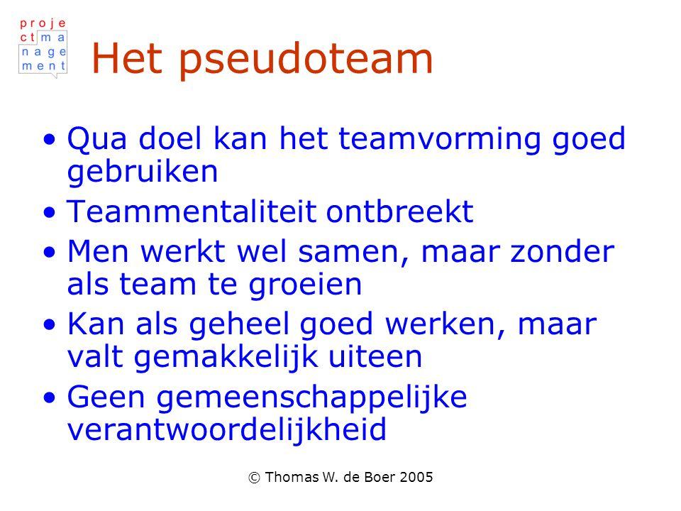 Het pseudoteam Qua doel kan het teamvorming goed gebruiken