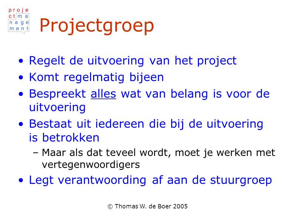 Projectgroep Regelt de uitvoering van het project