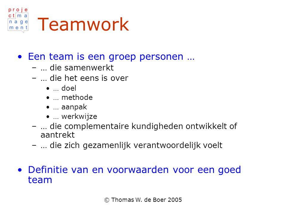 Teamwork Een team is een groep personen …