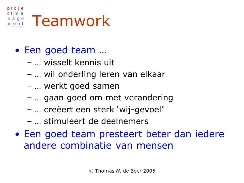 Teamwork Een goed team …
